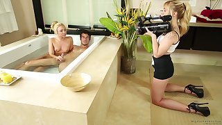 Katerina Kay and Lucy Tyler regarding care of him with a nuru massage