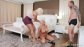 Dominate blondes Karissa Shannon and Kristina Shannon ration a dick