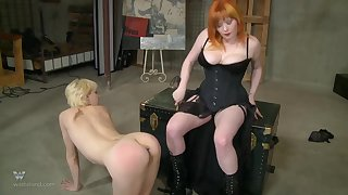 Chubby redhead abuses her headed up teen slave all round toys
