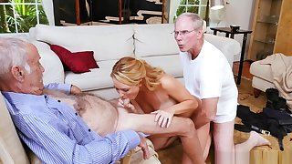 Teen Slut Sucks 3 Nasty Old Men & Fucks 2 But Never Stops Sucking Old Cock