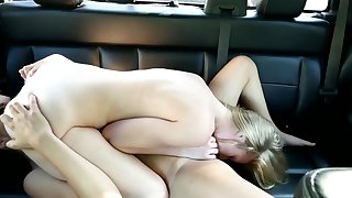 Two beloved girls prize sensual inverted lovemaking in car