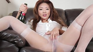 Asian Wet Sparkling wine And Pantyhose Play
