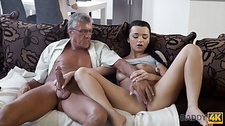 DADDY4K. Erica Black has lascivious mating with BFs daddy ago