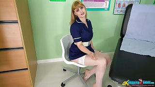 Nasty nurse in dispirited uniform and white stockings Elle shows satire