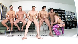 Group be required of hunks wait for their turn almost this top blonde