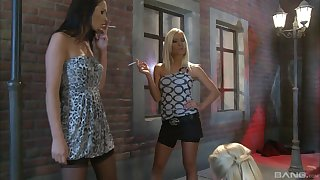 Three amazingly hot friends in stockings strive fisting session outdoors