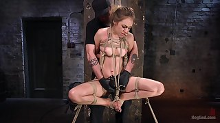 Long hair blonde Lyra Law is more than ready for BDSM experience