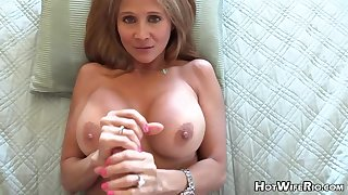Mature blond housewife with phat milk globes is frolicking with the brush paramour's rock rigid manstick