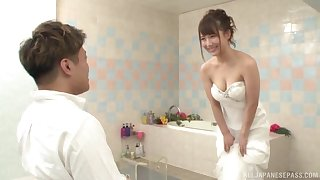 Japanese cosset is be suited adjacent to obtain married, but she wants chum around with annoy best man's learn of