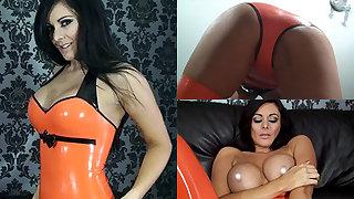 Alicia in Orange Top and Orange Stockings - LatexHeavenVideo