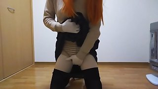 Kigurumi masturbation while smells get under one's socks(school girl, black tights)