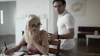 Snake-hipped nerdy blonde girl with natural tits Chloe Temple takes long cock into twat