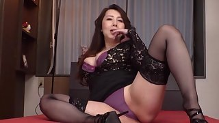 Clothed Japanese mature is soon adjacent to border on take down the brush undies