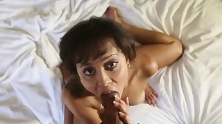 She smiles to the fullest extent a finally milking with an increment of riding a big dick