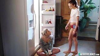 Wettish lesbians having sex in the kitchen