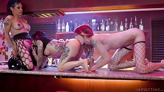 Wild horny threesome with cock hungry grumble Joanna Angel right in the bar