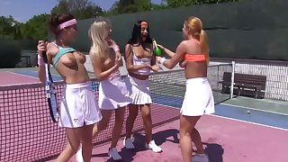 Large fruity party on chum around with annoy tennis court with Ana Crunch at one's best with an increment of Cayla Lyons