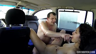 Czech old bag gets fucked upon car