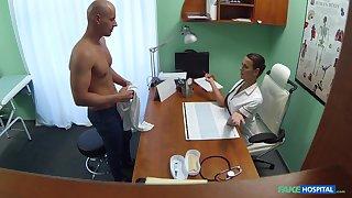 Handsome lady's man drops his pants to fuck provocative nurse Mea Melone
