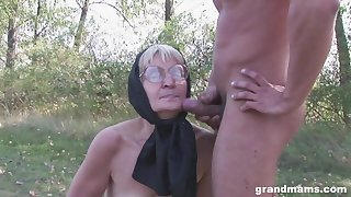 Hardcore outdoor fucking with mature amateur in fishnet stockings