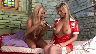Kinky lesbian sex between patient Carol increased by nurse Jenna Superb