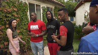 Interracial gangbang with a quantity for black dudes and horny Casey Calvert