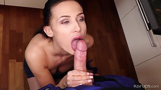 Nude brunette with a perfectly shaved pussy, Nicole Love got fucked hard and creampied properly