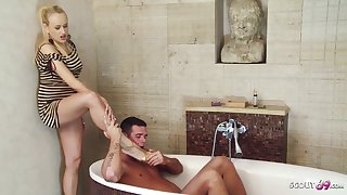 Diverting light-complexioned skirt is having casual sexual connection with her handsome step- son, in the bathroom