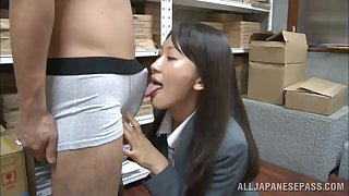 Horny Japanese office lady Kozue Hirayama drops on her knees fro give head
