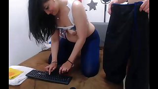 Sexy brunette girl asks for anal on webcam