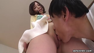 Alluring Japanese angel looks so sweet having sex with say no to beloved man