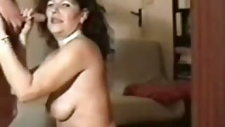 Perverted mature virago in black stockings is so into sucking dick