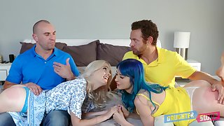 Athena Faris shares cum with her best affiliate after hardcore foursome copulation