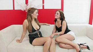 Sweet lesbians share a big toy during their kinky MILF play