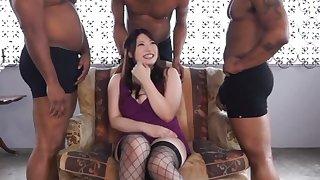 Japanese model Saegusa Chitose pleasures lot of big black cocks