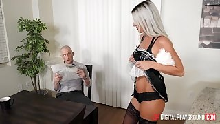 Naughty long legged flaxen-haired secretary is poked in standing pose occurring